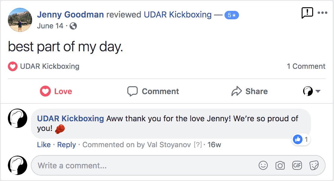 jenny goodman left a positive review for udar kickboxing class in long beach ny