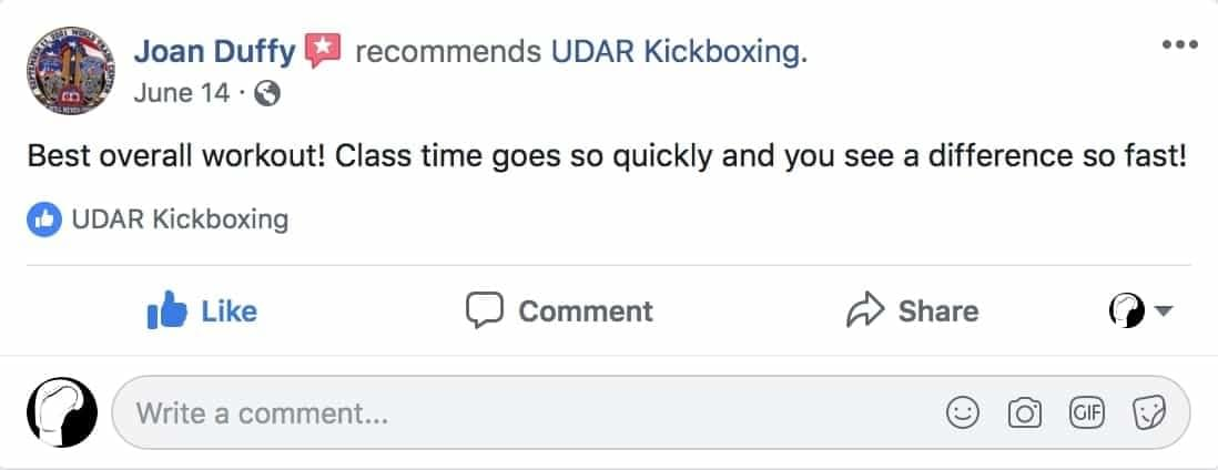 Joan Duffy said she experienced best overall workout at udar kickboxing class in long beach ny