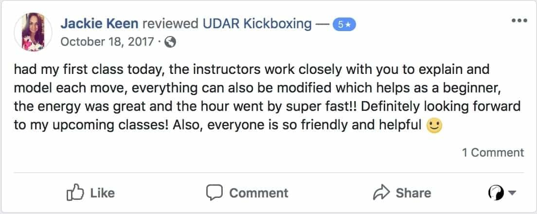 Jackie Keen wrote a positive review of her experience at udar kickboxing class in long beach ny